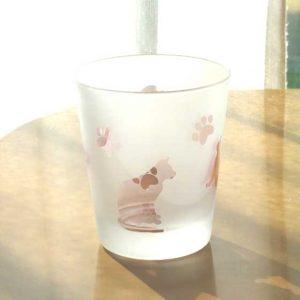 ネコグラス ロックグラス ピンク ブラスト工房