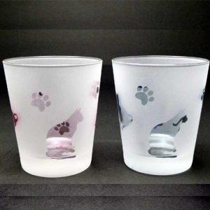 ネコグラス ペアセット ロックグラス ピンク+ブルー ブラスト工房