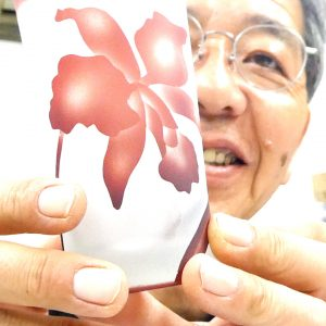 サンドブラストガラス彫刻 被せガラス