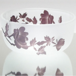 被せガラスコース レッスン6 バラの椀 サンドブラストでガラス彫刻