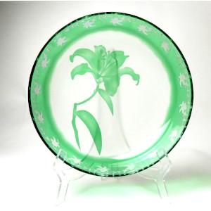 被せガラスコース レッスン13 被せガラス大皿 ユリの彫刻加工 中級編 サンドブラストでガラス彫刻