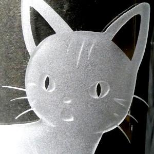 ネコ ガラス彫刻 サンドブラスト