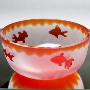被せガラス 金魚