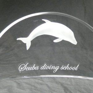 ガラス深彫り イルカ