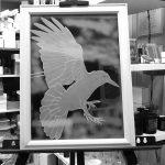 八咫烏 サンドブラスト ガラス彫刻