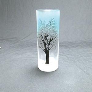 サンドブラストガラス彫刻作品 冬の樹